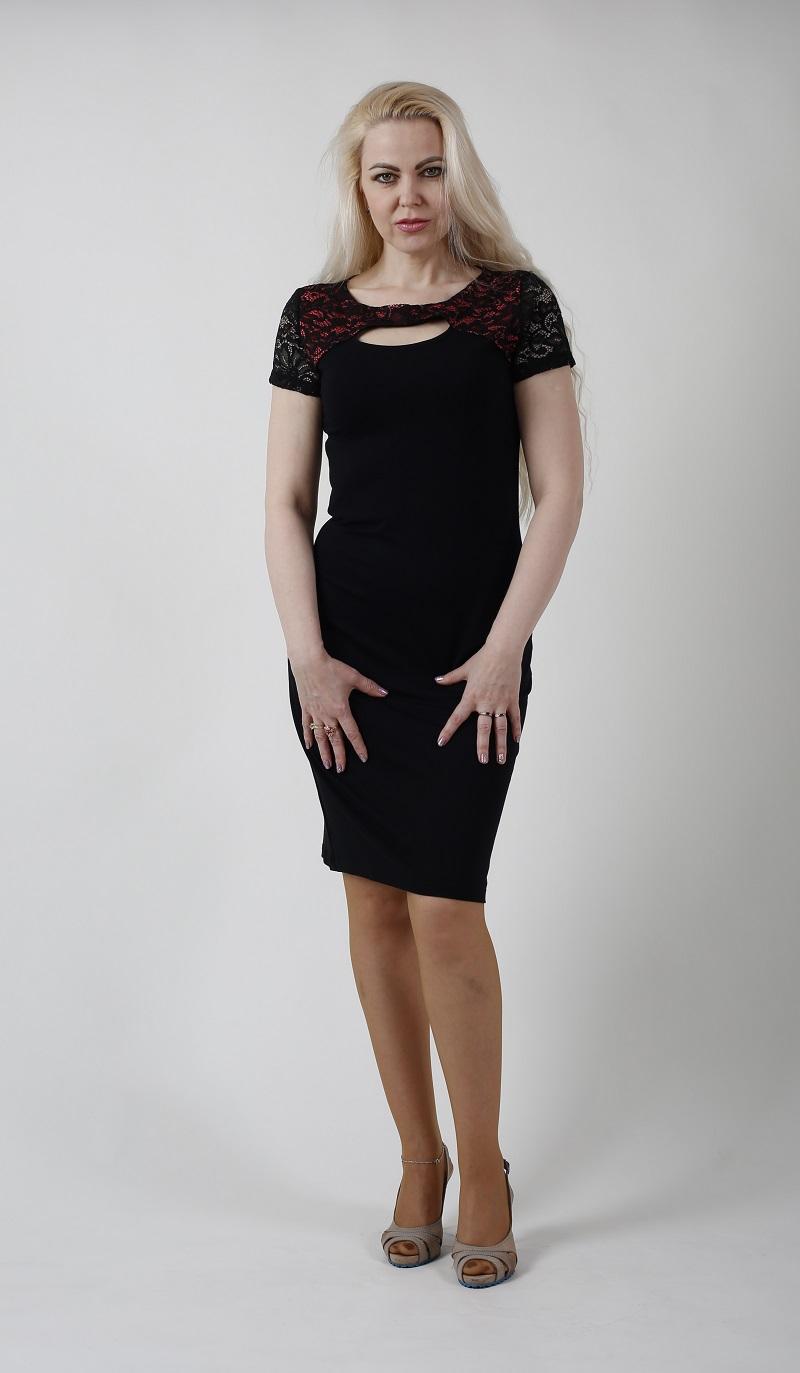 Elena - krajkové šaty černé L